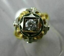Antique .20ct Diamond 18kt White And Yellow Gold Handcrafted Woven Solitaire Ring