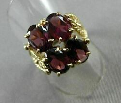 Antique Large 7ct Aaa Oval Garnet 14kt Yellow Gold Rope Filigree Ring 20564