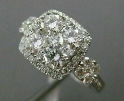 Estate Wide 1.41ct Diamond 18k White Gold 3d Square Halo Engagement Promise Ring