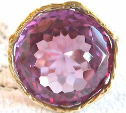 Huge Vintage Custom Lab Created Color Change Alexandrite 14k Yellow Gold Ring