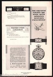 1929 A. Wittnauer Men's Ladies Wrist And Pocket Watch Antique Print Ad
