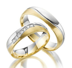2 X 585 Wedding Rings In Yellow Gold White Rose Price For One Pair 14 Carat Real