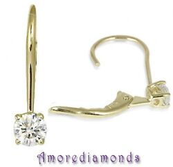 1.01 Ct E Si2 Round Natural Diamond Leverback Eurowire Earrings 18k Yellow Gold