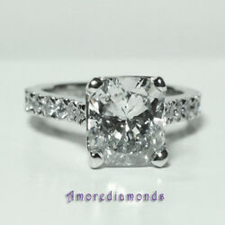 5.7 ct D SI2 cushion natural diamond solitaire engagement ring platinum MADE USA