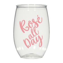 16oz Personalized Stemless Wine Glass, Wedding Cups, Rose All Day, Plastic Cups
