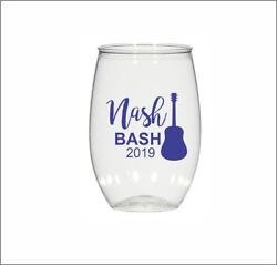 16oz Personalized Stemless Wine Glass, Wedding Cups, Nash Bash, Plastic Cups