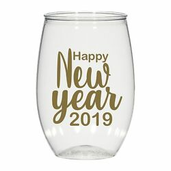 16 Oz Personalized Stemless Wine Glass Cups Party Favors Happy New Year 2019