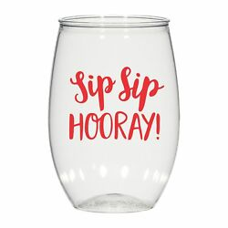16 Oz Personalized Stemless Wine Glass Weddings Cups Party Favors Sip Sip Hooray