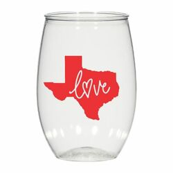 16 Oz Personalized Stemless Wine Glass Wedding Cups Texas Love Plastic Cups