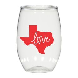 16 Oz Personalized Stemless Wine Glass Wedding Cups, Texas Love Plastic Cups
