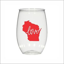 16 Oz Personalized Stemless Wine Glass Wedding Cups, Wisconsin Love Plastic Cups
