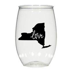 16 Oz Personalized Stemless Wine Glass Wedding Cups, New York Love Plastic Cups