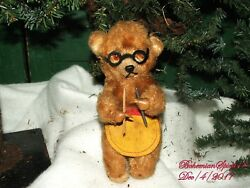 Antique 1920's Signed Wind-up Grandma Bear Knitting Toy As Is