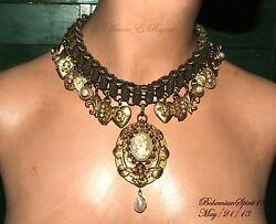 Antique Victorian Book Chain Charms Necklace Shell Cameos,lockets Natural Pearls