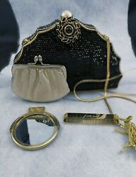 Vintage Judith Leiber Bag   Black Crystal Beaded 4 piece set Gold Brush Mirror