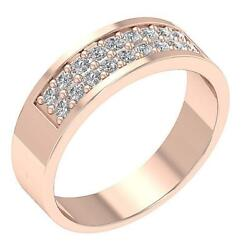 Pave Set Menand039s Wedding 14k Solid Gold Natural Diamond Ring I1 G 0.75 Ct 7.20 Mm