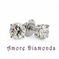 0.98 Ct H Si1 Round Ideal Cut Diamond 4 Prong Studs Earrings Platinum Screw Back