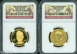 2010-W $10 GOLD SPOUSE MARY TODD LINCOLN NGC PR70 PF70 & MS70 2-Coins SET !!!