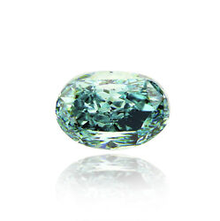 0.50 ct GIA fancy vivid blue green color SI2 clarity natural oval loose diamond