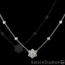 1.78 Ct G Si Flower Diamonds By The Yard Necklace 14k White Gold 16 Cable Chain