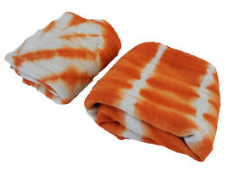 African Orange And White Mud Cloth Textiles S/2 Mali 39w By 62h