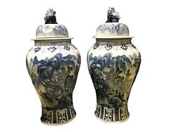 Mansion Size Chinoiserie B And W Porcelain Ginger Jars - A Pair 36 H