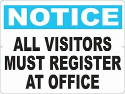 Notice All Visitors Register At Office Sign. Size Options. Safety And Security