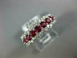Wide 1.70ct Diamond And Aaa Ruby 18kt White Gold 3d 3 Row Wedding Anniversary Ring