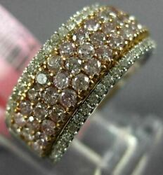 Estate Wide 1.37ct White And Pink Diamond 18kt White And Rose Gold Anniversary Ring