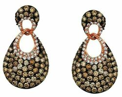 1.89ct White And Chocolate Fancy Diamond 14kt Rose Gold Love Knot Hanging Earrings