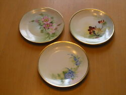 Three Antique Bavaria Hand Painted Gilt Floral Plates One Artist Signed 6+