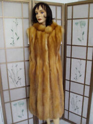 Brand New Natural Red Fox Fur Long Vest Women Woman Size All