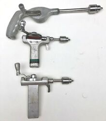 Lot Zimmer Z 895 And 522 Manual Hand Crank Bone Drill W/1bm And Om Jacob Chucks Used