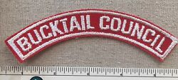 Vintage Bucktail Councl Boy Scout Red And White Half Strip Patch Rws Uniform Pa