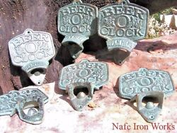 Six Old Style Cast Iron Beer Bottle Openers