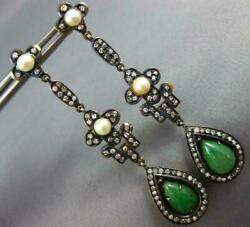 Antique Large .52ct Diamond Aaa Pearl And Jade 18k Gold And 925 Silver Drop Earrings