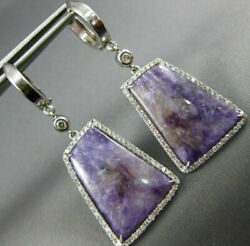 Large 15.87ct Diamond And Aaa Amethyst 14kt White Gold Trapezoid Hanging Earrings