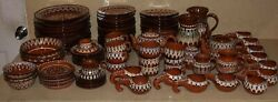 Jm 1960and039s Vintage Moroccan Dishes -plates -pitchers- 95 Pieces - Hand Painted
