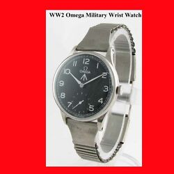 Ww2 Mint Steel Omega Non-magnetic Military Officers Wrist Watch 1945