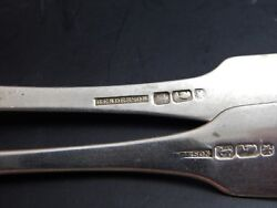 Two Antique American Coin Silver Serving Spoons Henderson Poughkeepsie Ny 8 7/8