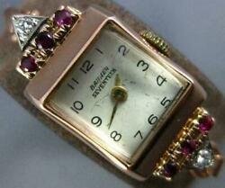 Antique Art Deco Banner Diamond And Aaa Ruby 14kt White And Rose Gold Ladies Watch