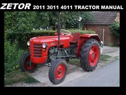 Zetor 2011 3011 4011 Operations Manual For Tractor Maintenance Service And Repair