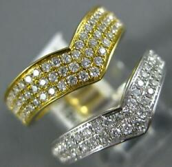 Estate Large .84ct Diamond 18k White And Yellow Gold Multi Row Double V Shape Ring