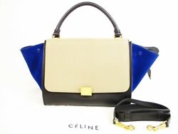 Auth Celine Leather And Suede Beige And Black And Blue Trapeze Hand Bag W/strap 5740