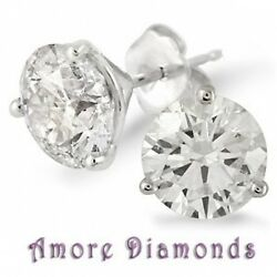 10.15 ct H SI3I1 round diamond stud solitaire earrings 14k white gold push back