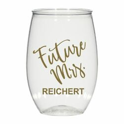 16 Oz Personalized Stemless Wine Glass, Cocktail Glass Wedding Favors Future Mrs