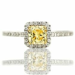 Estate .53ct White And Fancy Yellow Diamond 18k 2 Tone Gold Square Engagement Ring