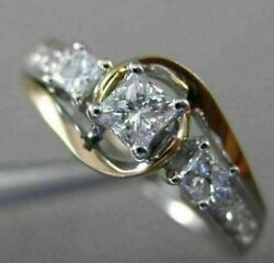 Estate .63ct Diamond 14k White And Rose Gold Past Present Future Engagement Ring