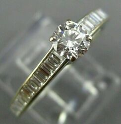 Large 1.25ct Round And Baguette Diamond 18kt White Gold 3d Classic Engagement Ring