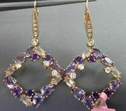 8.60ct Diamond And Aaa Amethyst Pink Quartz 14kt Rose Gold Etoile Hanging Earrings